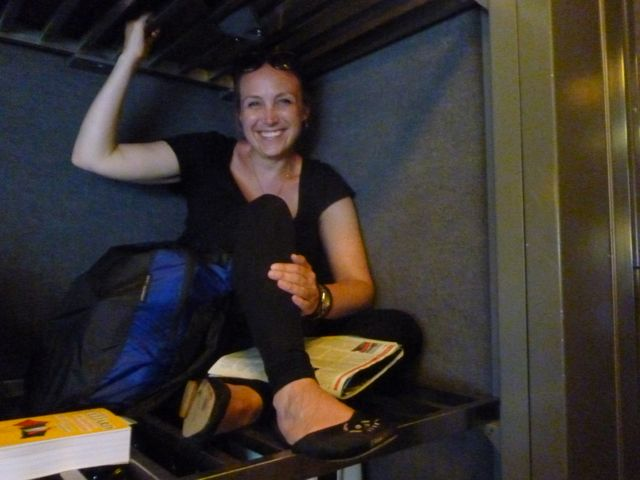 Yep, I'm sitting on a luggage rack. It was the only seat left on this lovely French train.